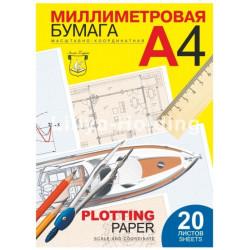 Бумага миллиметровая А4, 20 листов