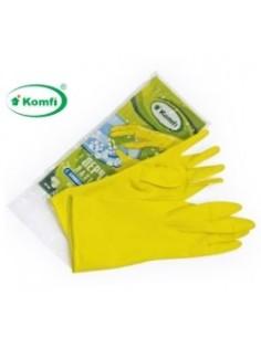 Перчатки хозяйственные латексные с х/б напылением желтые L Komfi