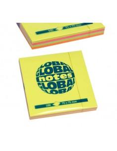 Бумага для заметок GLOBAL NOTES 75х75 мм 4 неоновых цвета
