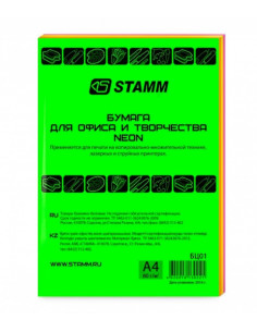 СТАММ Бумага форматная А4 цветная mix, 100 листов, 80гр.